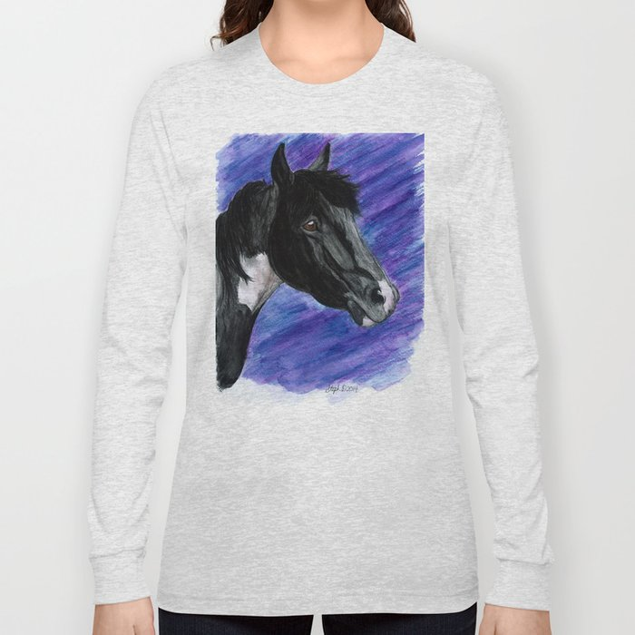Watercolor Paint Horse Long Sleeve T-shirt