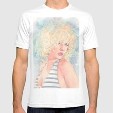 Scarlett Johansson 3 LARGE White Mens Fitted Tee