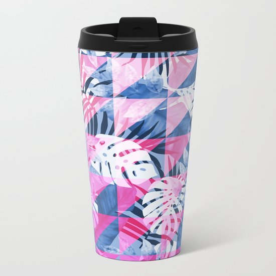 Abstract Hot Pink Geometric Tropical Design Metal Travel Mug