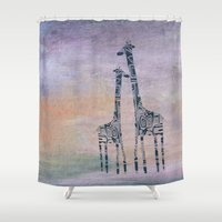 giraffes Shower Curtains featuring giraffes by Bunny Noir