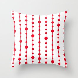 Red vertical lines and dots Throw Pillow