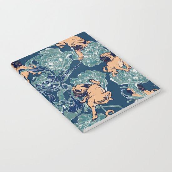 Climbing Pug & Floral Notebook