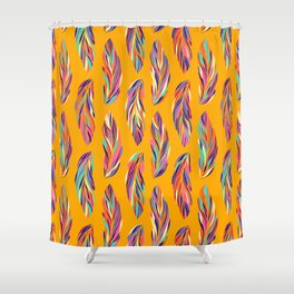 EXOTIC BIRD FEATHERS 02, hot yellow Shower Curtain