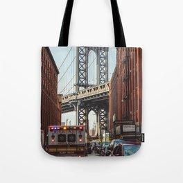 Gold hour rush in Brooklyn Tote Bag