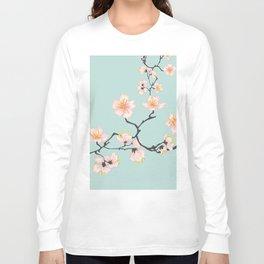 Sakura Cherry Blossoms x Mint Green Long Sleeve T-shirt