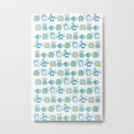 Lil Monsters Pattern Metal Print