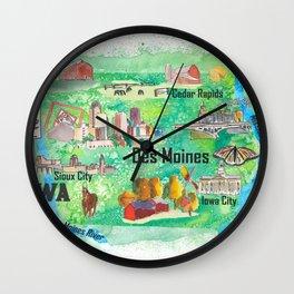 Iowa USA State Illustrated Travel Poster Favorite Tourist Map Wall Clock