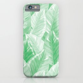 Modern Hand-painted Watercolor Big Tropical Leaves Pattern, Pastel Jungle Green Color iPhone Case