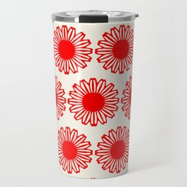 vintage flowers red Travel Mug