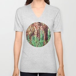 Lost in the Forest - watercolor painting collage Unisex V-Neck