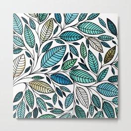Leaf Illustration - Blue Green - P07 010 Metal Print