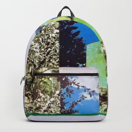 apple worm reaching for clouds paper photo collage Backpack