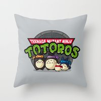 tmnt Throw Pillows featuring TMNT by fishbiscuit