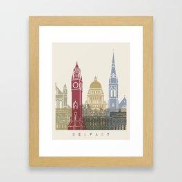 Belfast skyline poster Framed Art Print