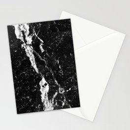 Midnight Black Marble With White Diamond Veins Stationery Cards
