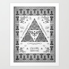 Legend of Zelda Kingdom of Hyrule Crest Letterpress Vector Art Art Print