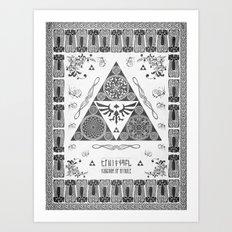 Legend of Zelda Kingdom of Hyrule Crest Letterpress Vector Art Art Print