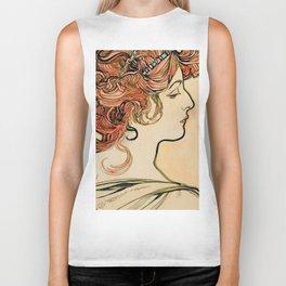 "Alphonse Mucha ""Portrait of a young woman"" Biker Tank"