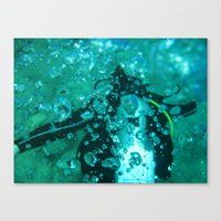 diver Canvas Prints featuring Diver by gustav butlex