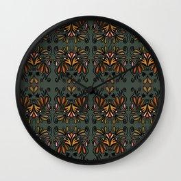 Paisley en fleur-fall-repeat Wall Clock