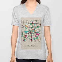 Colorful City Maps: Fort Worth, Texas Unisex V-Neck