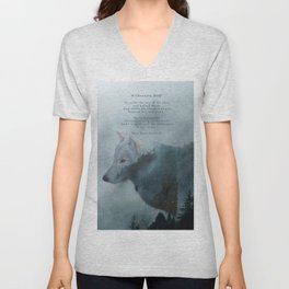 Wilderness Wolf & Poem Unisex V-Neck