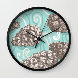 seamless pattern with Pine cones and frosty patterns. Brown and blue. Sketch. vector Wall Clock