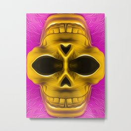 drawing and painting golden skull with pink background Metal Print