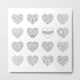 Tiny Hearts and Patterns, Adult Coloring Pattern Metal Print