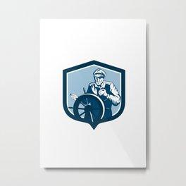 Fisherman Sea Captain Shield Retro Metal Print