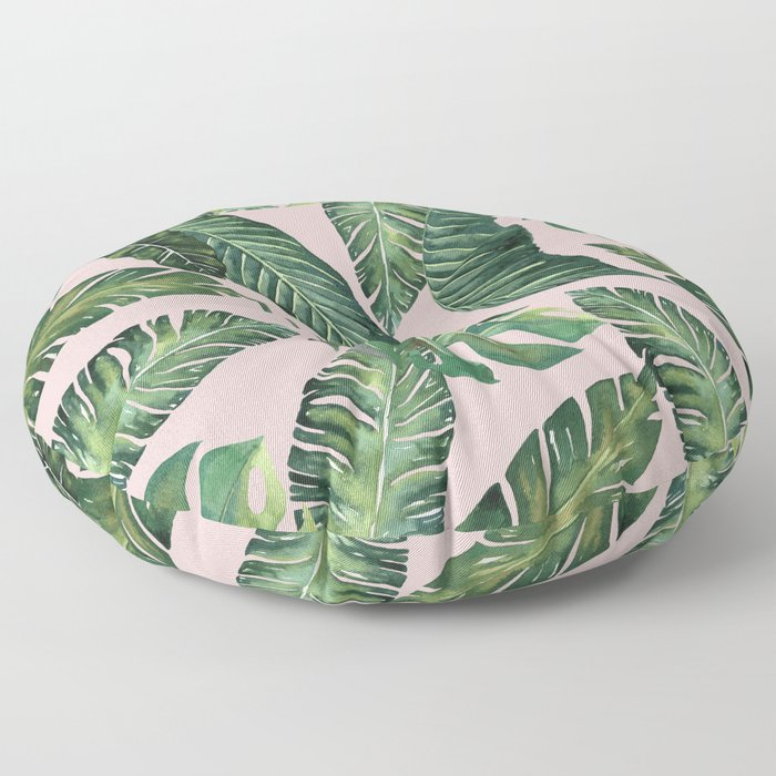 Jungle Leaves, Banana, Monstera Pink #society6 Floor Pillow