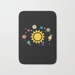 Solar System Planets Sun and Moon Bath Mat