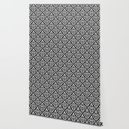 Scroll Damask Pattern White on Black Wallpaper