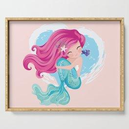 Cute mermaid illustration Serving Tray