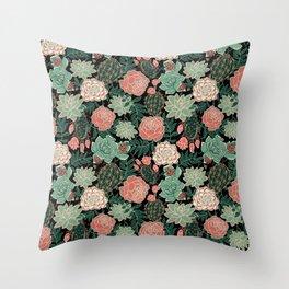 succulent and rose Throw Pillow