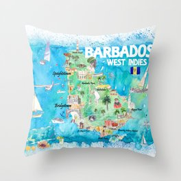 Barbados Antilles Caribbean Map with Highlights of West Indies Island Dream Throw Pillow