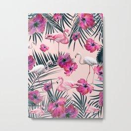 Flamingo Hibiscus Jungle Siesta #2 #tropical #decor #art #society6 Metal Print