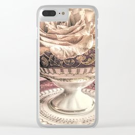 Rose Pearls Teacup Still Life Modern Cottage Chic Decor Art Matted Picture A466 Clear iPhone Case