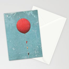 Big Red Balloon -- Minimal Whimsical Painterly Canvas with rustic vintage charm Stationery Cards