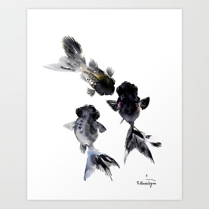 Black Moor, Feng Shui Koi Fish Art, Three Fish black fish decor Art Print