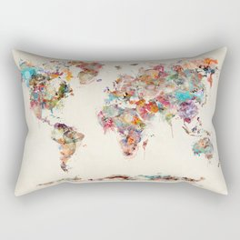 world map watercolor deux Rectangular Pillow
