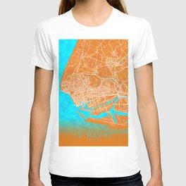 Le Havre, France, Gold, Blue, City, Map T-shirt