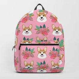 Corgi face floral bouquet cute dog breed gifts for welsh corgi lovers must haves Backpack