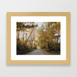 yellow autumn road Framed Art Print