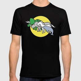 Horned Warrior Friends (unicorn, narwhal, triceratops, rhino) T-shirt