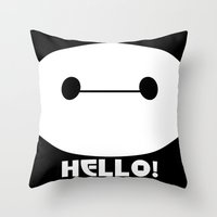 baymax Throw Pillows featuring BAYMAX by Yiji