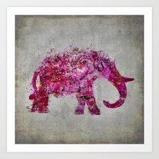 Elephant Art mixed media pink grey Art Print