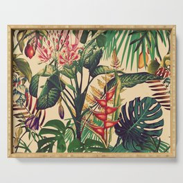 Vintage Tropical Flora (green) Serving Tray