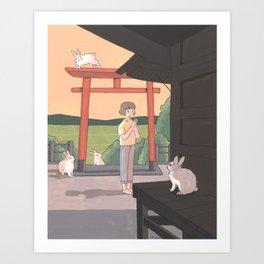 In a bunny shrine Art Print