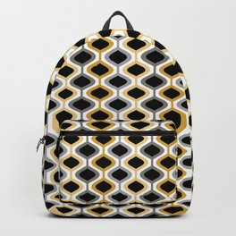 Mid Century Modern Rounded Diamond Pattern // Black, Gray, Gold, Butter Yellow // Version 2 Backpack